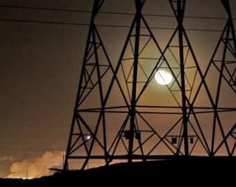 Moon and Pylon, industrial moon photograph, electricity pylon, night sky print, office decor, rust, amber, charcoal, black, waning moon