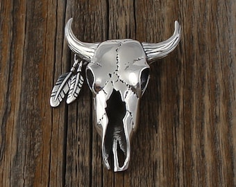 Native American Navajo Steer Skull Silver Pin, 3D Navajo Skull Pin, Sterling Silver Pin, Handcrafted Pin, Native American Pin, Vintage Pin