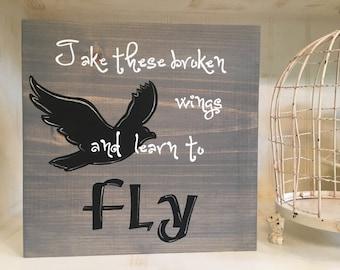 Take These Broken Wings Wood Sign, Blackbird Lyrics Wood Sign, Beatles Lyrics Blackbird Wood Sign, Beatles Blackbird Lyrics Wood Sign