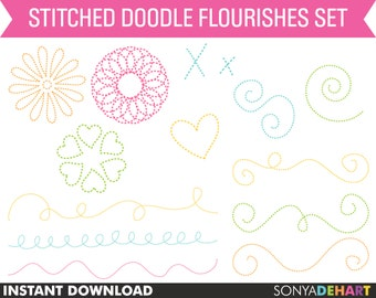 80% OFF SALE Doodle Clipart, Stitched Clipart, Doodle Clip Art, Digital Clip Art, Commercial Use