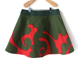 Girls Size 7 Christmas Skirt -Red and Green Marimekko Cotton