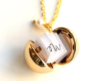 Secret Message Necklaces, golden Ball Locket Necklace, custome message, Personalized Locket Necklace, mom Jewelry,for mom Mother's Day gift