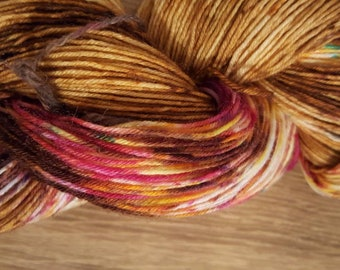 100g 4 Ply BFL/Nylon Hand Dyed Sock Yarn - Bronze Surprise