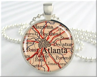 Atlanta Map Pendant, Resin Charm, Atlanta Georgia Map Necklace, Picture Jewelry, Round Soilver, Gift Under 20, Map Charm 567RS