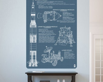 Apollo Mission Vehicle Blueprints Wall Decal - #60856