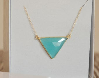 Chalcedony Necklace, Gold filled, Geometric Necklace, Triangle Necklace, Bridesmaid Gift, Birthday Gift, Christmas Gift