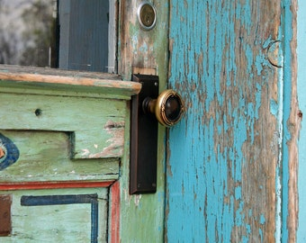 Door Handle, Canyon Road, wall art, Santa Fe Style, turquoise, rustic, New Mexico, colorful, Val Isenhower