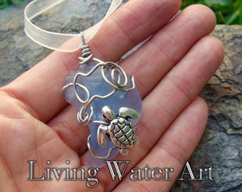 Beach Glass Necklace, Beach Glass Pendant, Sea Glass Jewelry, Sea Glass Necklace, Blue Sea Glass Necklace, Sea Tortoise Necklace, Ocean Gift