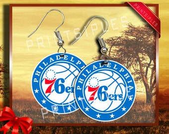 Philadelphia 76ers earrings basketball simmons embiid trust the process 1.58 inch round aluminum