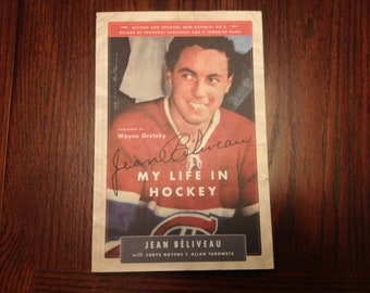 2005 s/c Autographed book My Life in Hockey by Jean Beliveau #4 Montreal Canadiens NHL SIGNED 319 pages