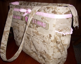 Best military diaper bag from your uniform or mine trending Daddy diaper bag desert marine diaper bag marine  bag personalized made to order