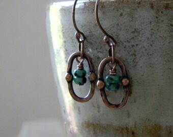 Turquoise earrings copper earrings copper jewelry 7th anniversary gift southwestern jewelry south west earrings gemstone jewelry cowgirl
