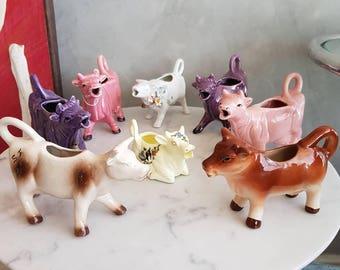 Vintage Cows Milk Jars - Creamers. Price for Each
