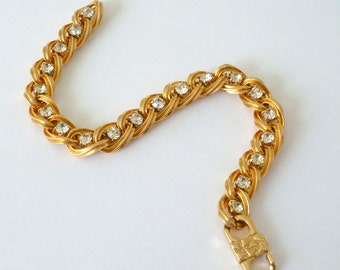 Vintage Gold Tone Tennis Bracelet with Rhinestones