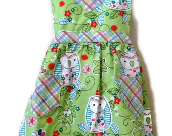 Children's Apron, Toddler apron, Girls Apron, Baking Apron, Cooking Apron, Owl Apron, Kids Apron, Little Girl Apron, Handmade Apron