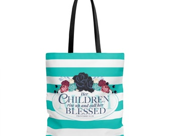 Christian Women Tote Bag  MotherS Day Gift  Blessed Mom  Proverbs 3128  Christian Gifts