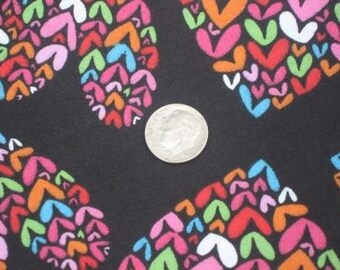 SALE One Yard of Colorful Heart Fabric on Black