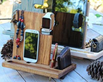 Fathers Day Gift for Men Gift for Groomsmen Gift for Boyfriend Gift for Husband Gift for Him OAK Docking Station iPhone iPad iWatch Stand