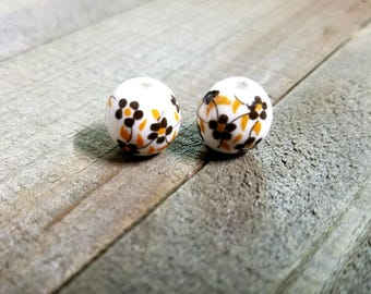 Porcelain Beads 12mm Beads 12mm Porcelain Beads Porcelain Flower Beads Large Beads Floral Beads Flower Beads Big Beads 2pcs