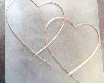 Heart Hoop Earrings, Big Heart Hoops, Open Heart Threaders, Rose Gold Hoop, Rose Gold Threader Earrings, Minimalist Earrings, Modern Hoops