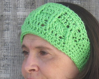 CLEARANCE! Cabled crochet headband, headwrap, ear warmer - lime green - crochet accessories Winter Fashion