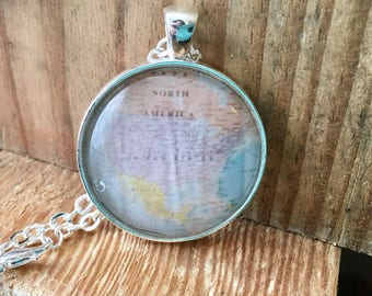 North America Mexico Canada Globe Pendant Necklace Map World Travel Wanderlust Gift for Traveler Earth Nation USA