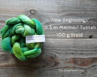 Merino / Tussah Silk hand dyed braid 'New Beginnings' 100 g  3.5 oz