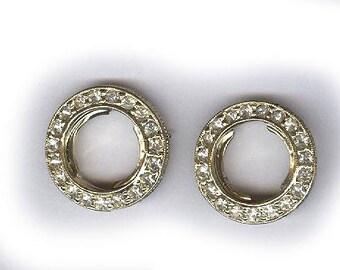 Strass de silvertone très robuste de conclusions strass Vintage connecteurs deux d'un côté et de perles sur l'autre côté cercles patine