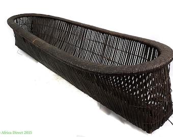 Kuba Basket Long Handwoven Congo African Art 38 Inch 100543