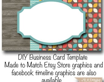 DYI Blank Business Card Template - Partridge Family Retro - Made to Match Etsy Sets and Facebook Timeline Covers