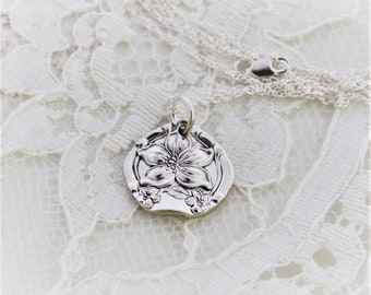 Spoon Pendant Spoon Silverware Jewelry - ORANGE BLOSSOM 1910 - STERLING Silver Chain - Antique Keepsake Gift Ready To Ship