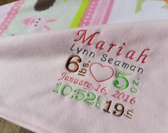 Personalized Baby Blanket-Birth Announcement