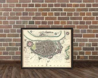 Antwerp map -  Old map of Antwerp print -  Vintage map archival print