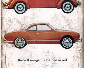 """Volkswagen VW Karmann Ghia Bug One in Red Ad 10""""X7"""" Reproduction Metal Sign A75"""