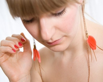 Tangerine Feather Neon Earrings - Feather Earrings - Long Coral Earrings - Sunday Afternoon