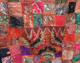Vintage Indian Import Hand Sewn Sequin and Beaded Silk and Wool Wall Tapestry