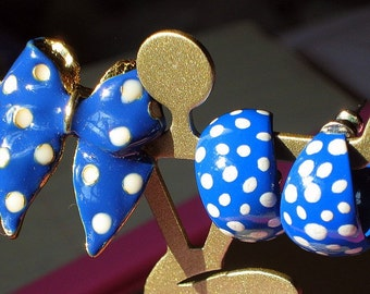 Jewelry Set Sale Blue Polka Dots Vintage Hoops Earrings Brooch Demi Parure That 70s Show Enamel Lot Mad Men Bow Pin White Rockabilly Royal