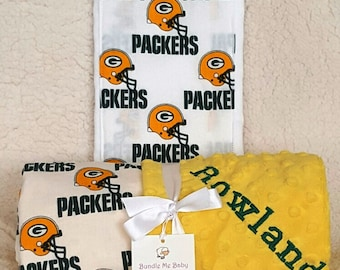 Green Bay Packers Baby Blanket Football Gift PERSONALIZED Name Minky Baby Boy and Girl Detroit Lions