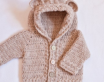 Crochet PATTERN - Bear Hooded Cardigan (sizes baby up to 8 years)