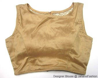 Golden embroidery blouse - boat neck blouse - Available in all Sizes - Sari Blouse - Saree Top - Sari Top - For Women