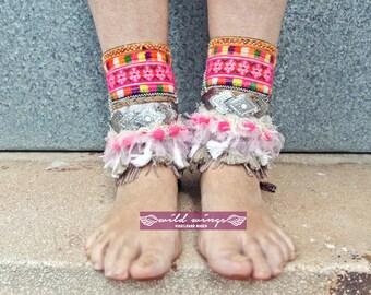 Hmong Tribe Ankle Cuffs,Tribal Hmong Bracelet,Fringe Barefoot,Bohemian Boho Ankle Cuffs,Boho Style,Shoe Jewelry, Antique tribal textiles,DIY