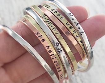 """Armé de la vérité - 1/8"""" à la main estampillé manchette bracelets - bracelet de cuivre laiton argenté - Christian Jewelry - écriture"""