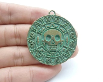 4pcs- Antique Bronze Rustic Patina Aztec Charm, Pirates of the Caribbean charm pendants, Aztec Gold Coin 40mm C8161