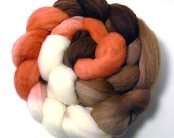 Handdyed Merino Wool Roving - Phoebe - brown, tan, coral, white