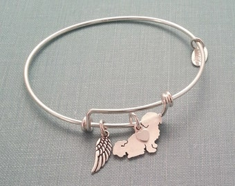 Shih Tzu Dog Adjustable Bangle Bracelet, 925 Sterling Silver Personalize Pendant, Breed Silhouette Charm Rescue Shelter Mothers Day Gift