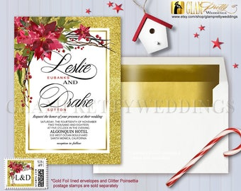 Poinsettia Berries Gold Glitter Christmas Winter Wedding Invite Red Green - Printable or Printed - Style Name: JANICE