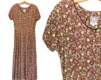 Vintage 90's Dress Small 80's MINIMALIST Dress Rayon Boho Dress Maxi Western Dress 90's Clothing K