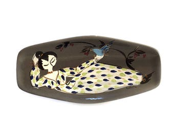 Mid-Century MARC BELLAIRE Art Pottery Footed Dish Bowl Lady Blue Bird Cotillion California Pottery  Signed and Numbered B79-12