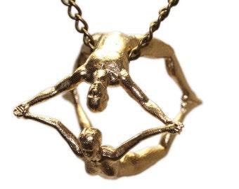 "3D Printed Pendant Necklace ""Joy"" Human Figures Joy Acrobat 3D Printed Jewelry 40 mm Stainless Steel"