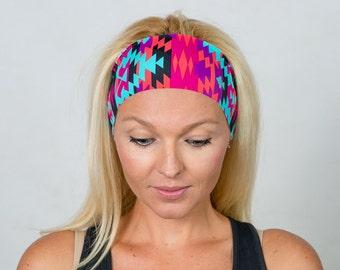 Running Headband-Workout Headband-Fitness Headband-Yoga Headband-Gym Gear-Boho Headband-Fashion Headband-Women Head Wrap-Aztec Print